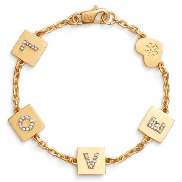1934b8b05865f Tory Burch Love Message Chain Bracelet NWT